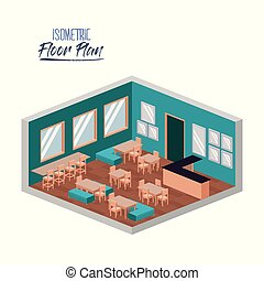 isometric floor plan of school canteen in colorful...