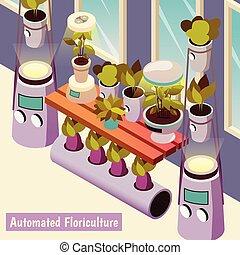 isometric, floriculture, achtergrond, geautomatiseerd
