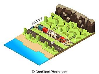 isometric, fogalom, szállítás, vasút