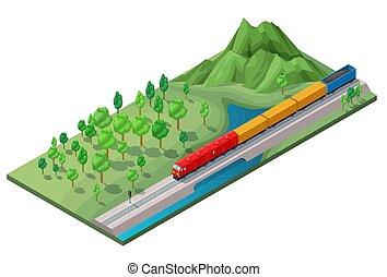 isometric, fogalom, szállítás, vasút, munkaszervezési