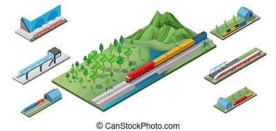 isometric, fogalom, vasút, szállít