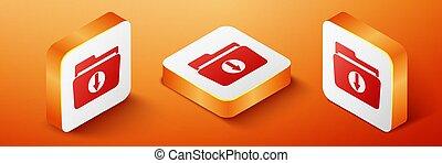 Isometric Folder download icon isolated on orange background. Orange square button. Vector