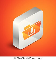 Isometric Folder download icon isolated on orange background. Silver square button. Vector Illustration