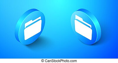 Isometric Folder icon isolated on blue background. Blue circle button. Vector