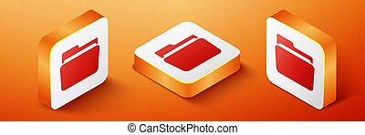 Isometric Folder icon isolated on orange background. Orange square button. Vector