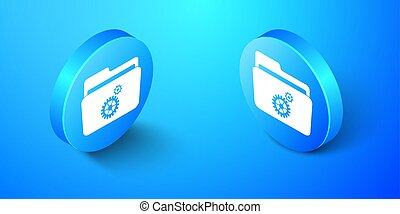 Isometric Folder settings with gears icon isolated on blue background. Concept of software update, transfer protocol, router, teamwork tool management. Blue circle button. Vector