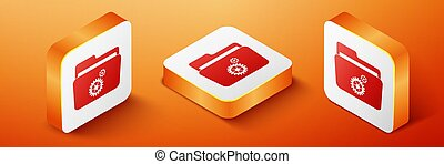 Isometric Folder settings with gears icon isolated on orange background. Concept of software update, transfer protocol, router, teamwork tool management. Orange square button. Vector