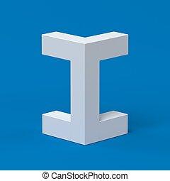 Isometric font letter I 3d