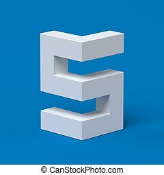 Isometric font number 5 3d