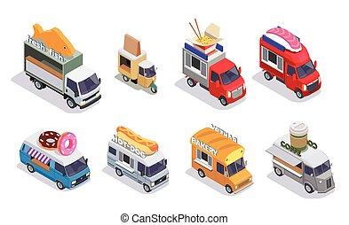 Isometric Food Trucks Set