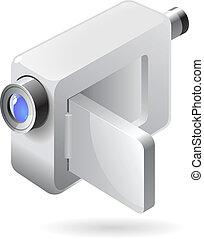 isometric, fototoestel, video, pictogram