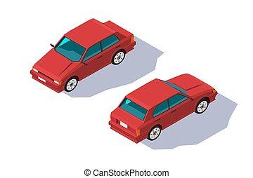 isometric, four-seater, klasyczny wóz, family., sedan, czerwony, 3d