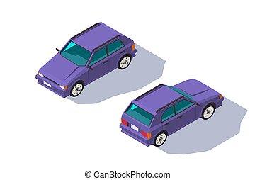 isometric, four-seater, klasyczny wóz, hatchback, family., czerwony, 3d