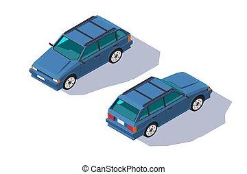 isometric, four-seater, klasyczny wóz, uniwersalny, family., czerwony, 3d