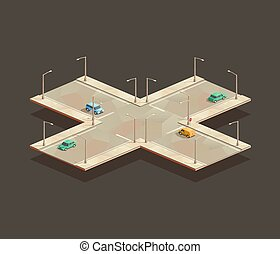 Four-way intersection - isometric Four-way intersection. Low...