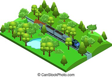 Isometric Freight Train Template