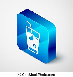 Isometric Fresh smoothie icon isolated on grey background. Blue square button. Vector