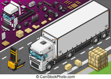 Isometric Frigo Truck in Front View - Detailed illustration...