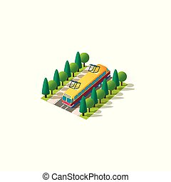 Isometric front left view tram - Vector isolated isometric ...