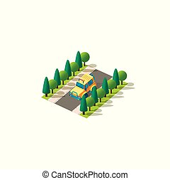 Isometric front left view yellow SUV