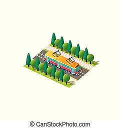 Isometric front right view tram - Vector isolated isometric...