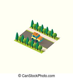 Isometric front right view yellow SUV