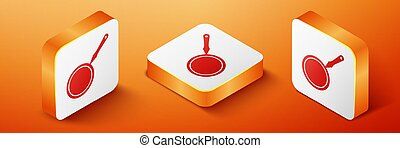 Isometric Frying pan icon isolated on orange background. Orange square button. Vector