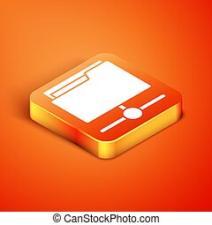 Isometric FTP folder icon isolated on orange background. Software update, transfer protocol, router, teamwork tool management, copy process, info. Vector