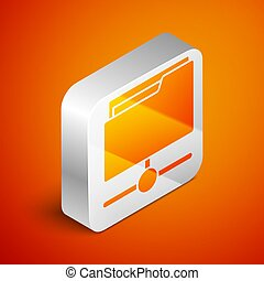 Isometric FTP folder icon isolated on orange background. Software update, transfer protocol, router, teamwork tool management, copy process, info. Silver square button. Vector