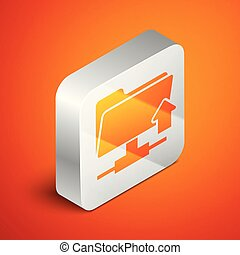 Isometric FTP folder upload icon isolated on orange background. Concept of software update, transfer protocol, router, teamwork tool management, copy process. Silver square button. Vector Illustration