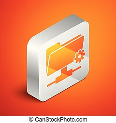 Isometric FTP settings folder icon on orange background. Concept of software update, transfer protocol, router, teamwork tool management, copy process. Silver square button. Vector Illustration
