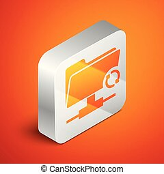 Isometric FTP sync refresh icon isolated on orange background. Concept of software update, transfer protocol, router, teamwork tool management, copy process. Silver square button. Vector Illustration