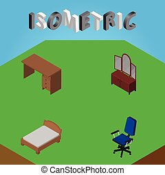 Isometric Furniture Set Of Bedstead, Office, Table And Other Vector Objects. Also Includes Bedstead, Cupboard, Chair Elements.