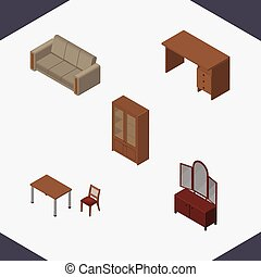 Isometric Furniture Set Of Chair, Couch, Drawer And Other Vector Objects. Also Includes Mirror, Furniture, Cupboard Elements.