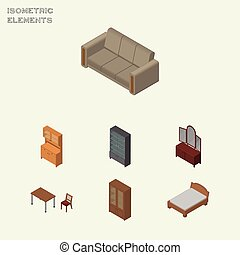 Isometric Furniture Set Of Couch, Sideboard, Chair And Other Vector Objects. Also Includes Locker, Bedstead, Sideboard Elements.