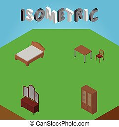 Isometric Furniture Set Of Drawer, Bedstead, Cabinet And Other Vector Objects. Also Includes Cabinet, Mirror, Sideboard Elements.