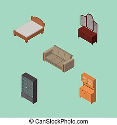 Isometric Furniture Set Of Sideboard, Bedstead, Cupboard And Other Vector Objects. Also Includes Settee, Wardrobe, Mirror Elements.