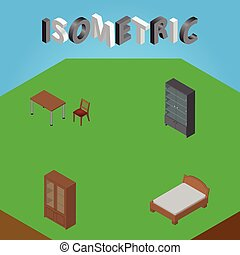Isometric Furniture Set Of Sideboard, Chair, Cabinet And Other Vector Objects. Also Includes Bed, Bedstead, Cabinet Elements.