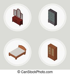 Isometric Furniture Set Of Sideboard, Drawer, Cabinet And Other Vector Objects. Also Includes Mirror, Locker, Cabinet Elements.