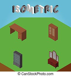 Isometric Furniture Set Of Table, Drawer, Cabinet And Other Vector Objects. Also Includes Cupboard, Sideboard, Cabinet Elements.