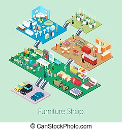 Isometric Furniture Shop Inside with Kitchen, Bathroom and Living Room Furniture. Vector 3d flat illustration