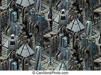 Isometric futuristic sci-fi architecture, city of the future. 3D rendering