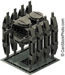 Isometric futuristic sci-fi architecture, impressive docking spacestation. 3D rendering