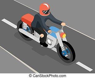 isometric, górny, biker, bok, droga, prospekt