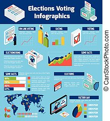 isometric, głosowanie, wybory, infographics