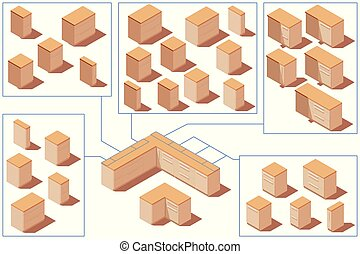 isometric, gablotki, podłoga, poly, wektor, niski, kuchnia