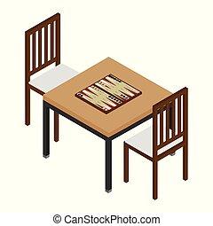 isometric, gamão, tábua madeira, e, lascas, para, game., tabela, com, aborde jogo, e, dois, cadeiras