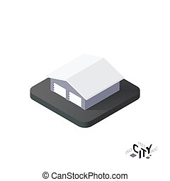 Isometric garage icon, building city infographic element, vector illustration