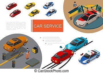 Isometric Garage Service Composition