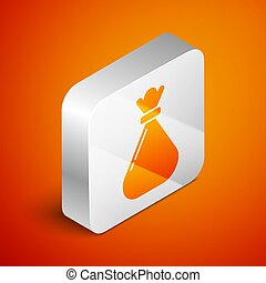 Isometric Garbage bag icon isolated on orange background. Silver square button. Vector Illustration